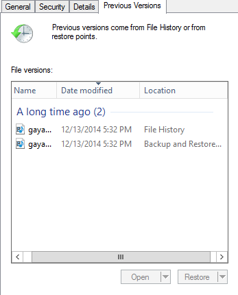 Recover by previous versions